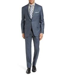 Hickey Freeman Beacon Classic Fit Plaid Wool Silk Suit