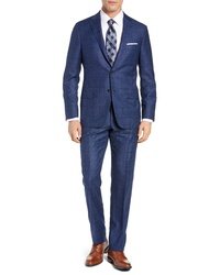 Hickey Freeman Classic Fit Windowpane Wool Cashmere Suit