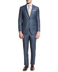 Ermenegildo Zegna Plaid Wool Two Piece Suit Bluegray
