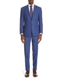 Canali Siena Classic Fit Deco Plaid Super 130s Wool Suit