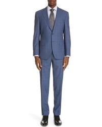 Canali Siena Classic Fit Plaid Super 130s Wool Suit