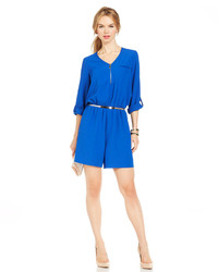 Ny Collection Tab Sleeve Zip Front Romper