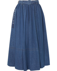 Prada Printed Denim Midi Skirt