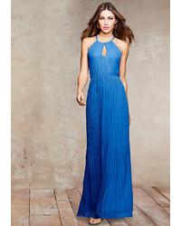 Blue Pleated Evening Dress