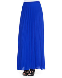 Neiman Marcus Cusp By Pleated Chiffon Maxi Skirt Cobalt Blue