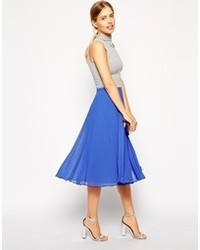 New Look Blue Midi Skater Skirt | Where to buy & how to wear
