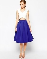 Blue Pleated Midi Skirts for Women | Women's Fashion
