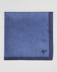 Burberry Contrast Border Silk Pocket Square Navy Blue