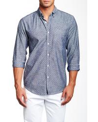 Barque Polka Dot Long Sleeve Chambray Shirt