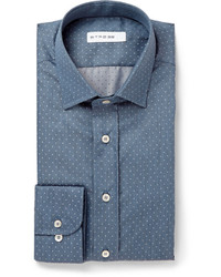 Etro Blue Polka Dot Cotton Chambray Shirt