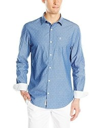 Original Penguin Chambray Polka Dot Dobby Long Sleeve Woven Shirt