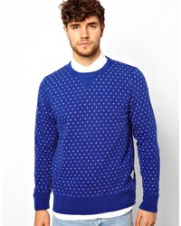 Blue Polka Dot Crew-neck Sweater