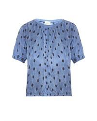 Blue Polka Dot Crew-neck T-shirt