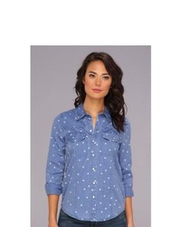 Roxy Saddleback 3 Ls Denim Shirt Long Sleeve Button Up Burn Out Polka Dot