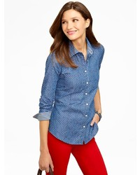 Talbots pindot denim shirt medium 242125
