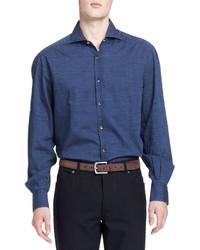 Brunello Cucinelli Washed Denim Dot Print Shirt Blue