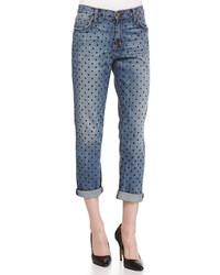 Current/Elliott The Fling Polka Dot Print Jeans