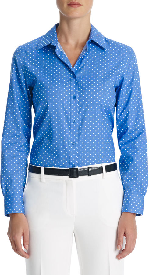 Jones New York No Iron Easy Care Relaxed Fit Polka Dot