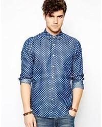 Asos Brand Polka Dot Shirt In Long Sleeve