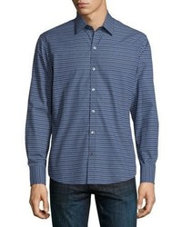 Zachary Prell Dot Print Long Sleeve Sport Shirt Navy