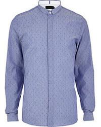 River Island Light Blue Vito Polka Dot Long Sleeve Shirt