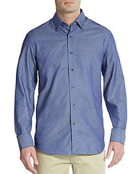 Saks Fifth Avenue Regular Fit Polka Dot Cotton Sportshirt