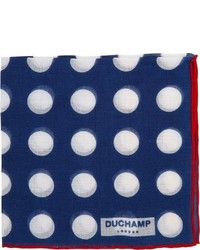 Duchamp Polka Dot Pocket Square Blue