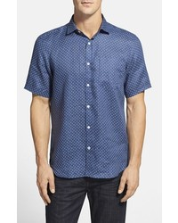 Blue Polka Dot Short Sleeve Shirt