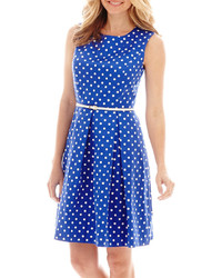 Sleeveless belted polka dot fit and flare dress medium 269578