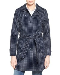 London Fog Petite Polka Dot Single Breasted Trench Coat