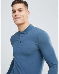 ASOS DESIGN Muscle Fit Long Sleeve Jersey Polo In Blue
