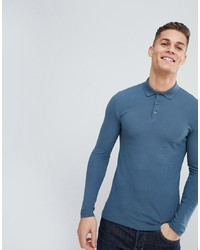 ASOS DESIGN Muscle Fit Long Sleeve Pique Polo In Blue