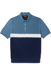 Tod's Colour Block Knitted Cotton Polo Shirt
