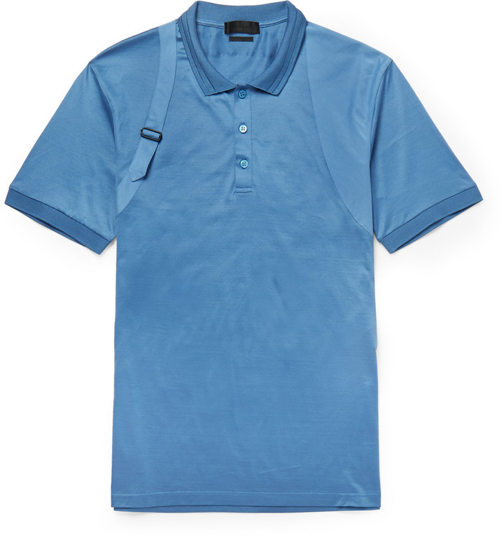 35931f11 ... Alexander McQueen Slim Fit Harness Detailed Cotton And Silk Blend Polo  Shirt ...