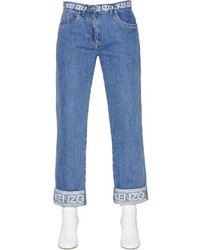 Kenzo Boyfriend Printed Cotton Denim Jeans