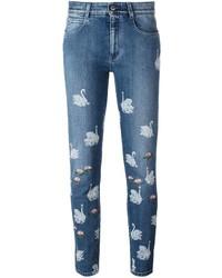 Skinny boyfriend swan print jeans medium 835978