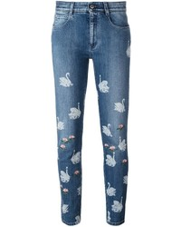 Stella mccartney skinny boyfriend swan print jeans medium 835978