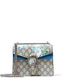 Gucci Dionysus Mini Printed Coated Canvas And Suede Shoulder Bag Blue