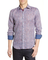 Bugatchi Shaped Fit Abstract Print Cotton Sport Shirt