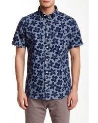 Jack Spade Floral Chambray Short Sleeve Regular Fit Shirt
