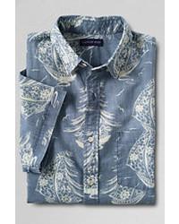 Classic Short Sleeve Print Festival Chambray Buttondown Shirt Blue Prints