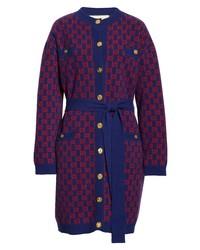 Gucci Gg Logo Jacquard Wool Sweater Coat