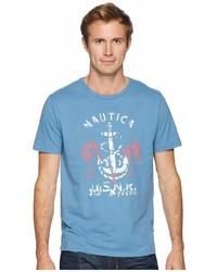 Nautica Anchor Palm Tree Print Crew T Shirt Clothing