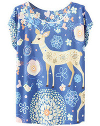 Romwe Floral And Sika Deer Print Blue T Shirt