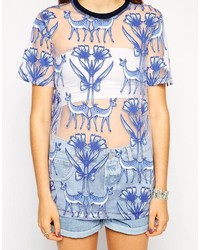 Asos T Shirt In Magical Woodland Burn Out Print