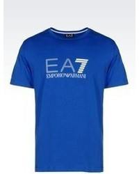 Emporio Armani T Shirt In Stretch Cotton With Logo Print
