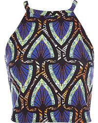 River Island Blue Fluro Tribal Print Racer Front Crop Top
