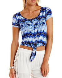 Charlotte Russe Cropped Button Up Printed Tee