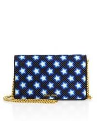 Miu Miu Star Print Denim Chain Crossbody Bag