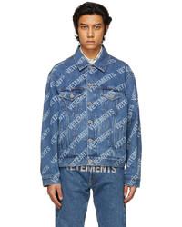 Vetements Blue Denim Allover Logo Jacket